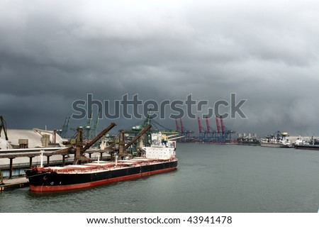 Skyline of Port of Santos with cargo ships and lift machines