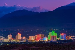 Skyline of Reno Nevada USA at Dusk