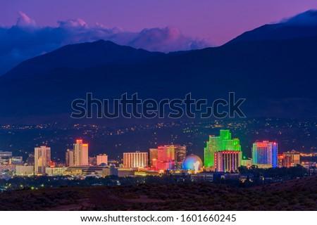 Skyline of Reno Nevada USA at Dusk Stock fotó ©