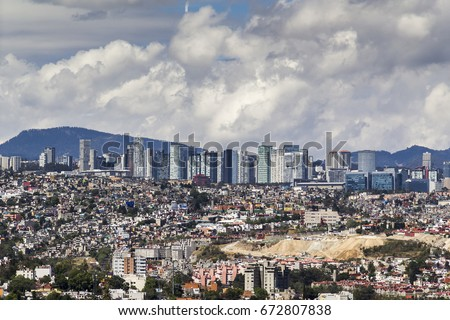 skyline of santa fe commercial, university, financial and residential modern east district of Mexico City #672807838