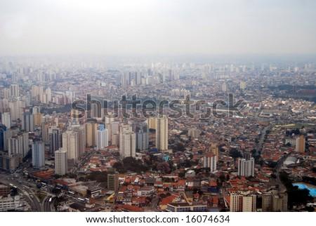 Skyline of Sao Paulo, Brazil, a huge metropolis covered by smog