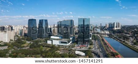 Skyline of Sao Paulo, modern buildings in Itaim Bibi district. Brazil