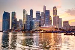 Skyline of Singapore at a beautiful sunset
