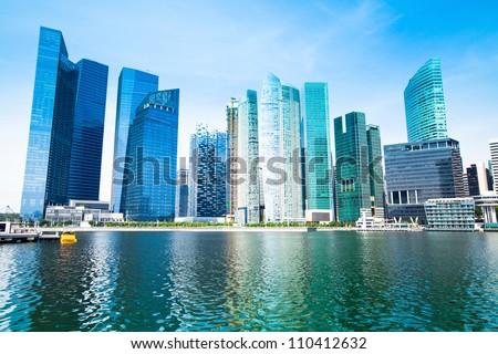 Skyline of Singapore business district Marina Bay.