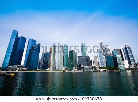Skyline of Singapore business district (Singapore)