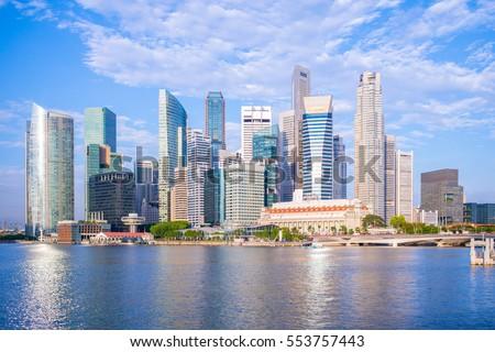 skyline of singapore by the marina bay #553757443