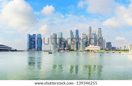 Skyline of Singapore downtown in the  morning