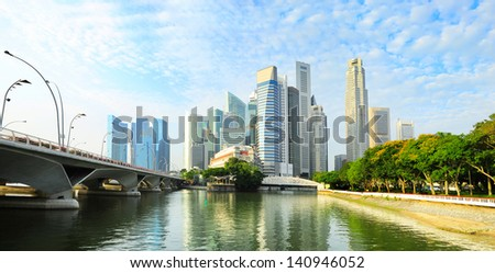 Skyline of Singapore downtown with reflection in the river