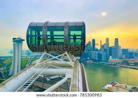 Skyline of Singapore, Singapore Flyer in the foreground #785300983