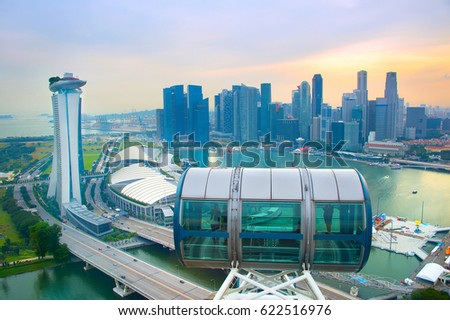 Skyline of Singapore, view from Singapore Flyer #622516976