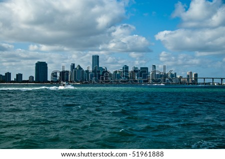 skyline of south beach in miami florida, as seen from the atlantic ocean