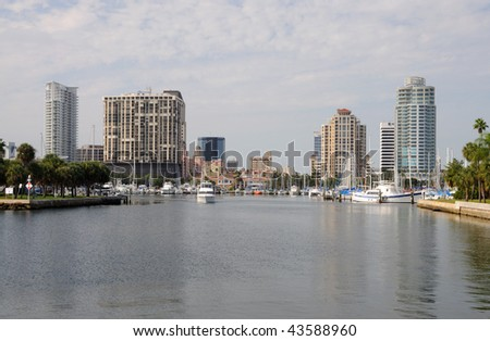 Skyline of St. Petersburg in Florida USA