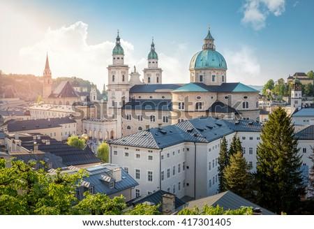 Skyline of Stadt Salzburg with Cathedral in summer at sunset, Salzburg, Austria
