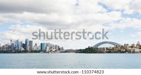 skyline of Sydney with city central business district and Sydney Harbour Bridge