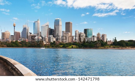 Skyline of Sydney with city central business district.Sydney harbour
