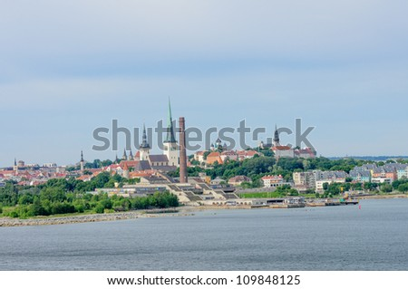 skyline of Tallinn, Estonia from the harbor