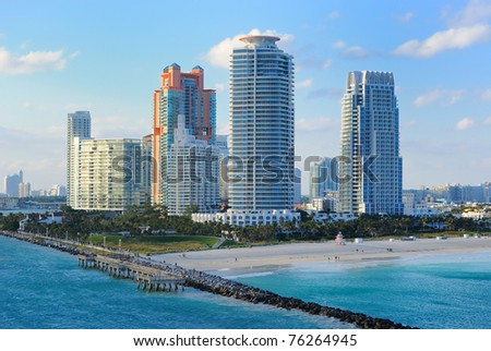 Skyline of the city of Miami, Florida.