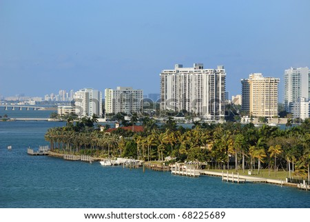 Skyline of the city of Miami, Florida along South Beach.