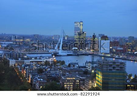 skyline of the city of rotterdam by night