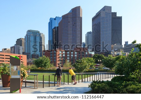 Skyline of the financial district of Boston, Massachusetts - USA