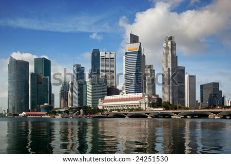Skyline of the financial district of Singapore