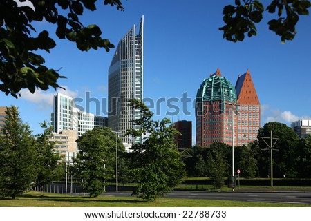 Skyline of the Hague, Netherlands. - stock photo