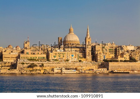 Skyline of the Maltese capital city Valletta in warm, late afternoon light