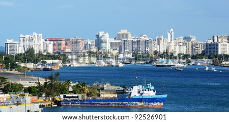 Skyline of the New City at San Juan, Puerto Rico.