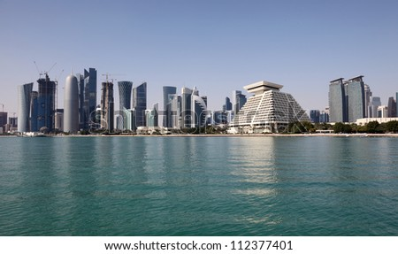 Skyline of the new Doha downttown district Al Dafna, Qatar, Middle East