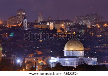 Skyline of the old city of Jerusalem, Israel. - stock photo