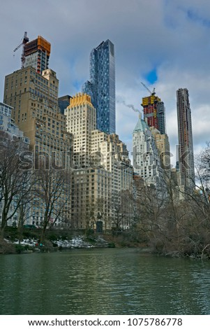 Skyline of the skyscrapers and skyscrapers under construction along the south side of Central Park #1075786778
