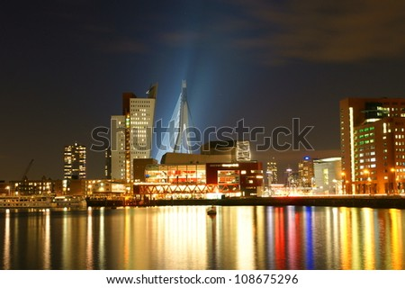 skyline of the south bank of rotterdam by night