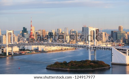 Skyline of Tokyo as seen from Odaiba at sunrise.
