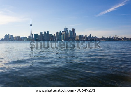 Skyline of Toronto, Canada, from the lake Ontario.