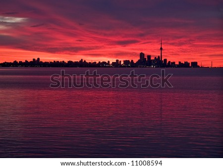 Skyline of Toronto, Ontario taken just before sunrise, with glorious glowing sky