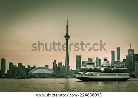 skyline of toronto with the...
