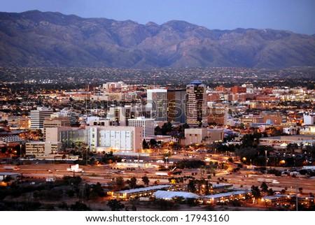 Skyline of Tucson, Arizona, after sunset, from Sentinel Peak Park