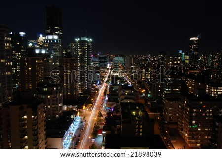 Skyline of Vancouver, Canada at night