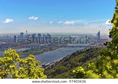 Skyline of Vienna and Danube Viewpoint Leopoldsberg. At the Right the so called Millenium Tower, at the left the Danube City.