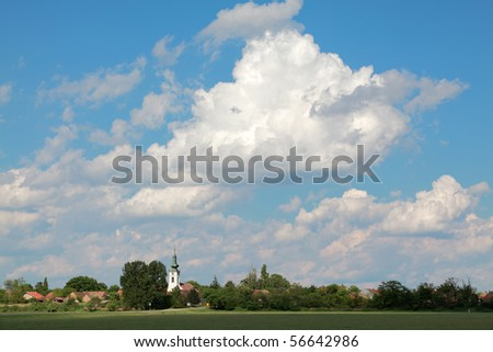 Skyline of village Aradac in Vojvodina, Serbia #56642986