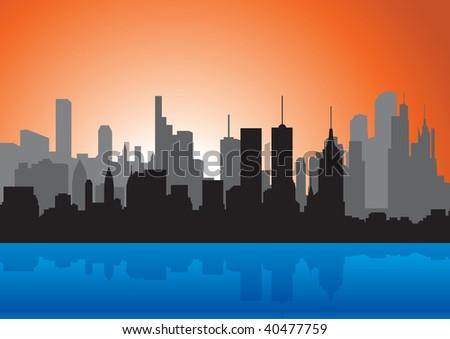 Skyline. Raster illustration