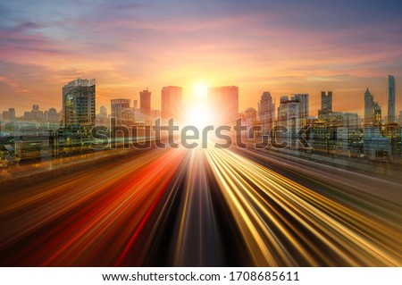 skyline road to city, Abstract background For business Graphic design illustration for banner background, light speed line Foto d'archivio ©