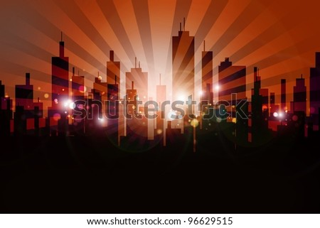 Skyline Urban Design. Cool Browny-Orange Skyline Sun Rise with Rays and Glowing Particles.