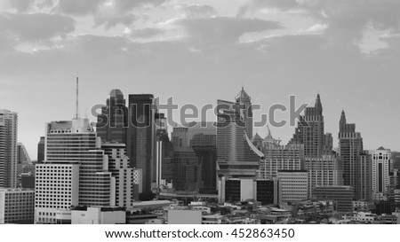 Skyline view of Bangkok cityscape with twilight sky, Thailand #452863450