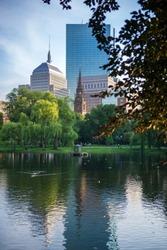 Skyline view of Boston, Massachusetts, from the Public Garden.