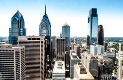 Skyline view of Philadelphia, PA  Aerial Photograph