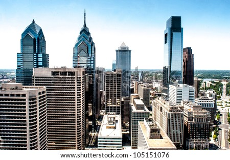 Skyline view of Philadelphia, PA  Aerial Photograph