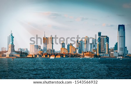 Skyline view of skyscrapers from water, from Hudson to  the New Jersey city, opposite New York. USA.