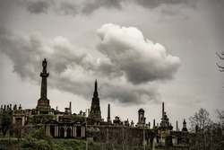 skyline view of the necropolis graveyard in Glasgow, Scotland.