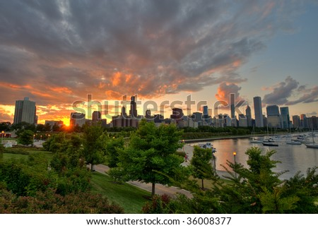 Skyline View with Sunset